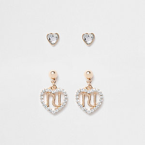 Multipack hartvormige oorbellen met siersteentjes en RI-initialen voor meisjes