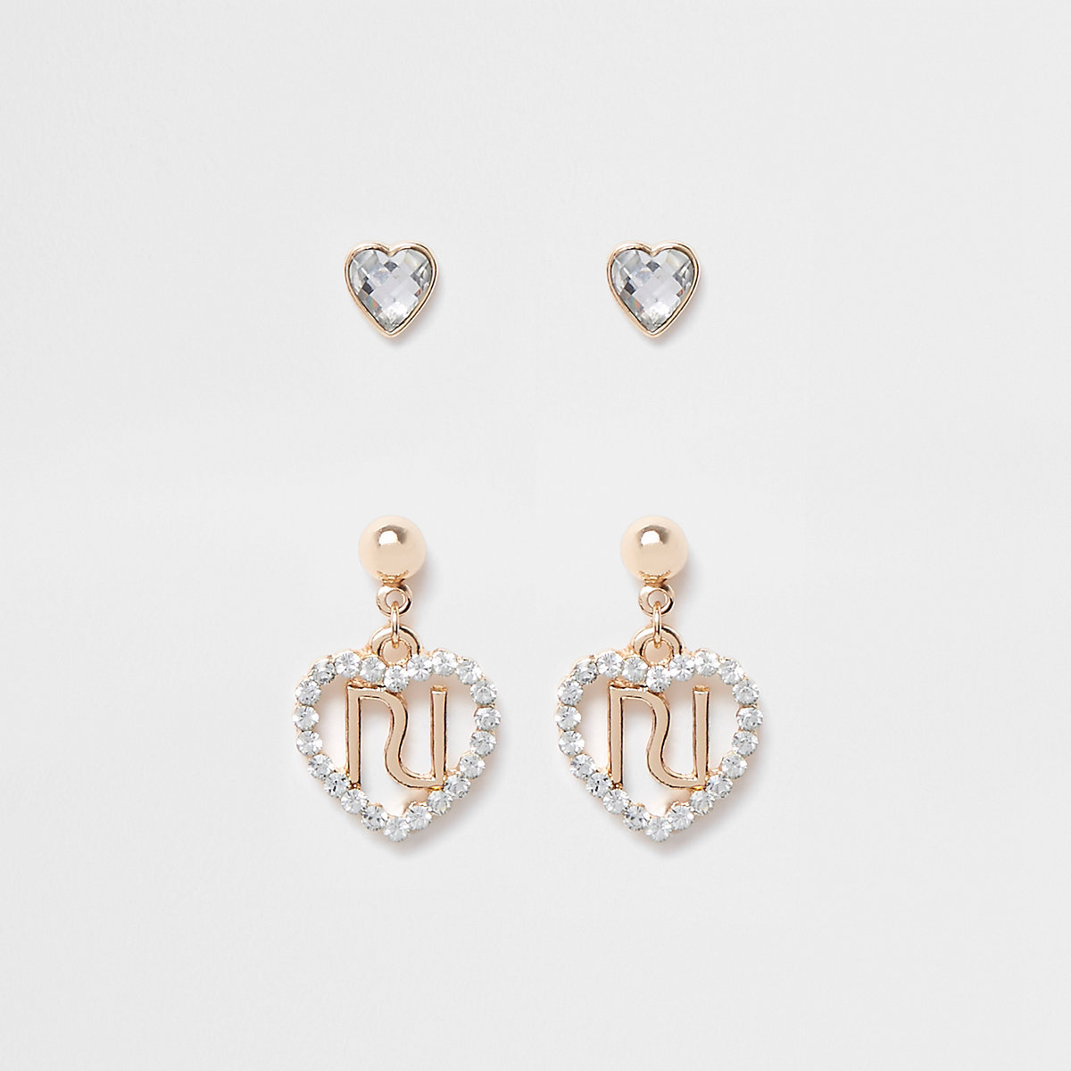 Girls RI diamante heart earrings multipack
