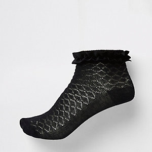 Girls black velvet trim socks multipack