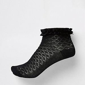 Schwarze Socken mit Samtbesatz, Set