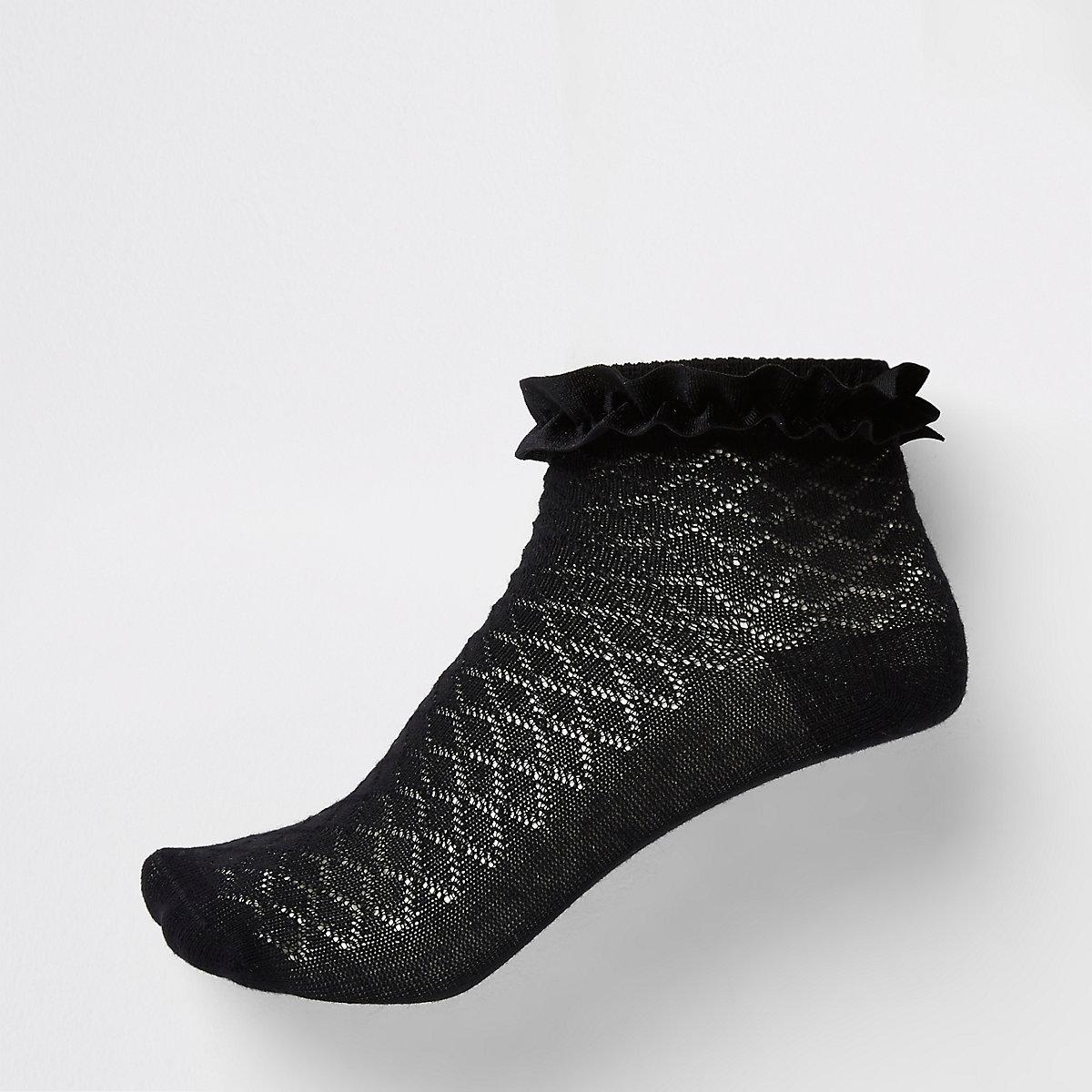 Girls black velvet trim socks multipack