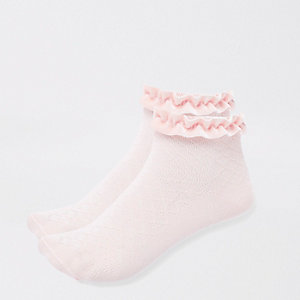 Girls pink velvet trim socks multipack