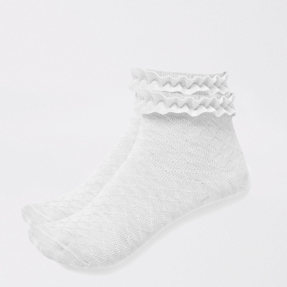 Girls grey velvet trim socks multipack