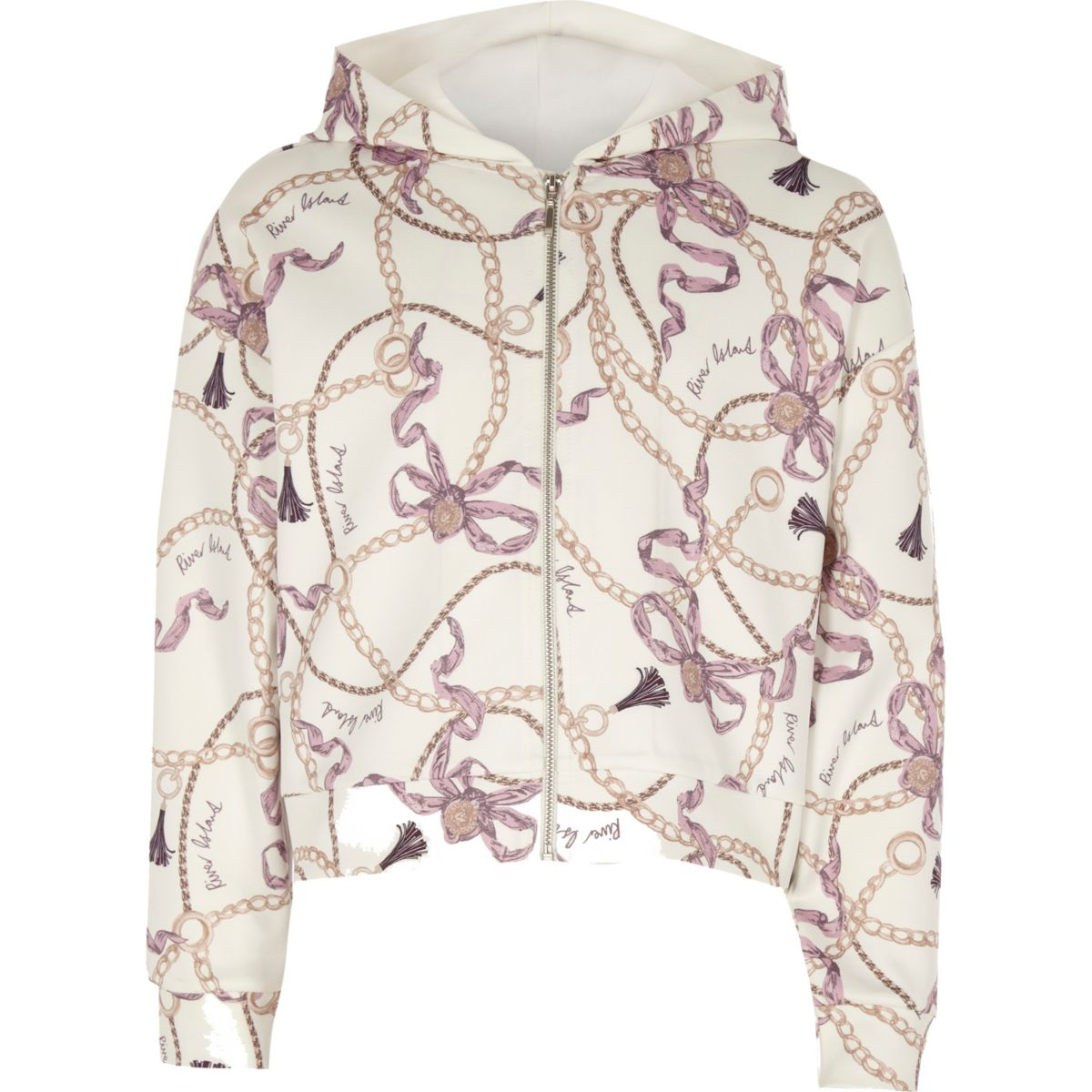 Girls white chain print zip-up hoodie