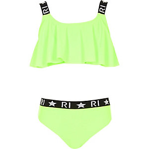 Bikini RI vert citron à volants pour fille