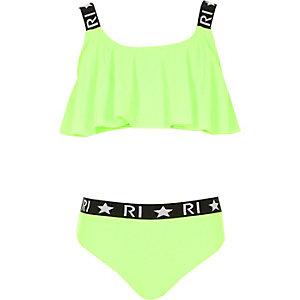 Limoengroene bikiniset met ruches en RI-logo voor meisjes