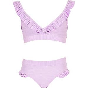 Bikini triangle violet à volants pour fille