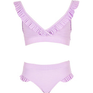 Paarse triangel-bikiniset met ruche voor meisjes