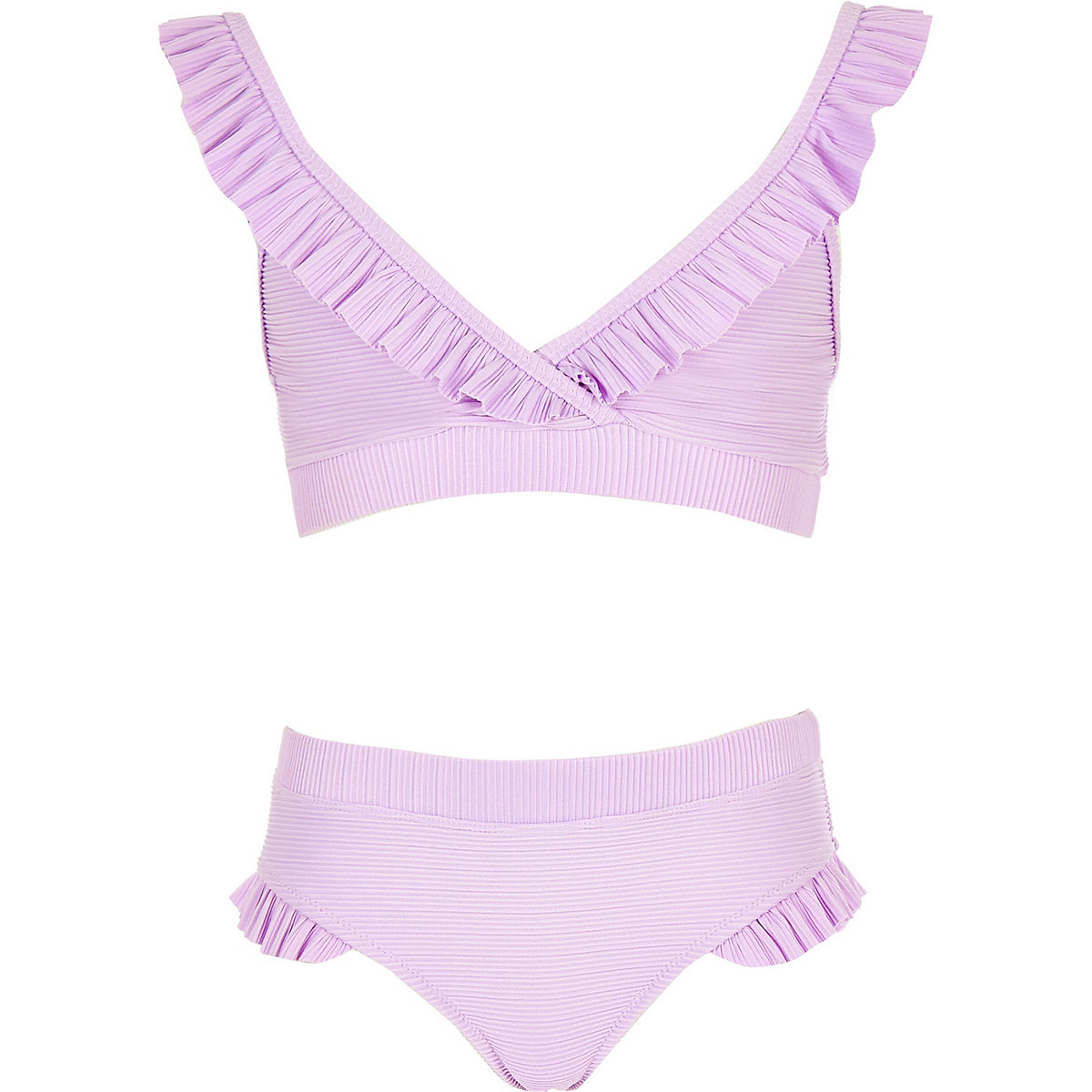 Girls purple frill triangle bikini set
