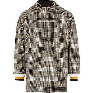Girls black check print tipped hoodie