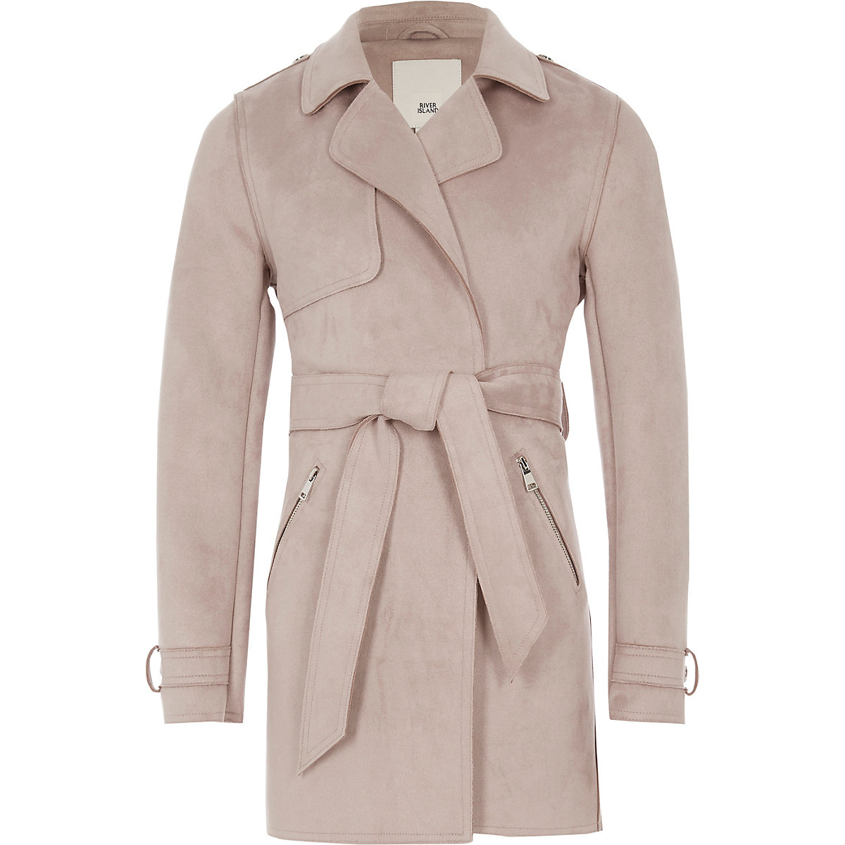 Girls lilac faux suede trench coat