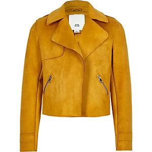 Veste courte en suédine jaune pour fille