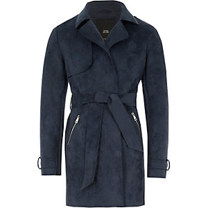 Girls navy faux suede cropped trench jacket
