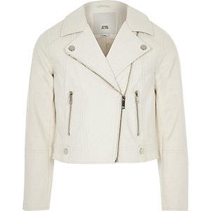 Girls white faux leather biker jacket