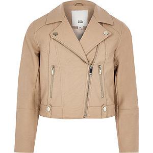 Girls brown faux leather biker jacket
