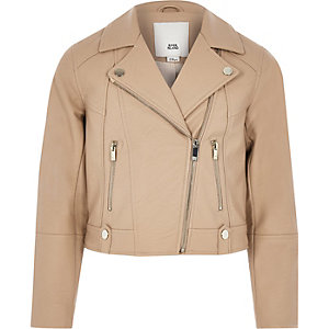 Girls brown faux leather biker jacket