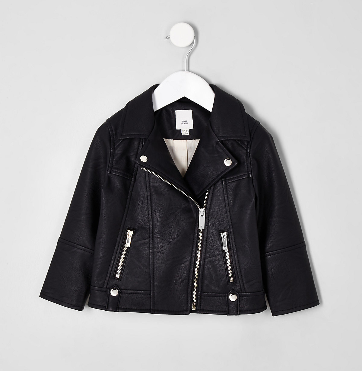 Mini girls black faux leather biker jacket