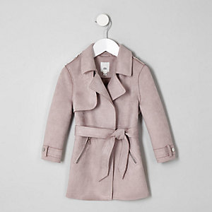 Mini girls purple faux suede trench coat