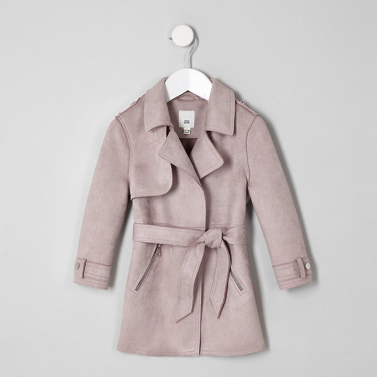 Mini girls purple faux suede trench coat