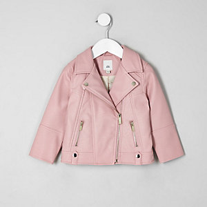 Perfecto en cuir synthétique rose mini fille