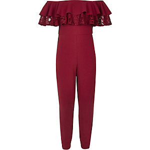 Girls burgundy scuba frill bardot jumpsuit