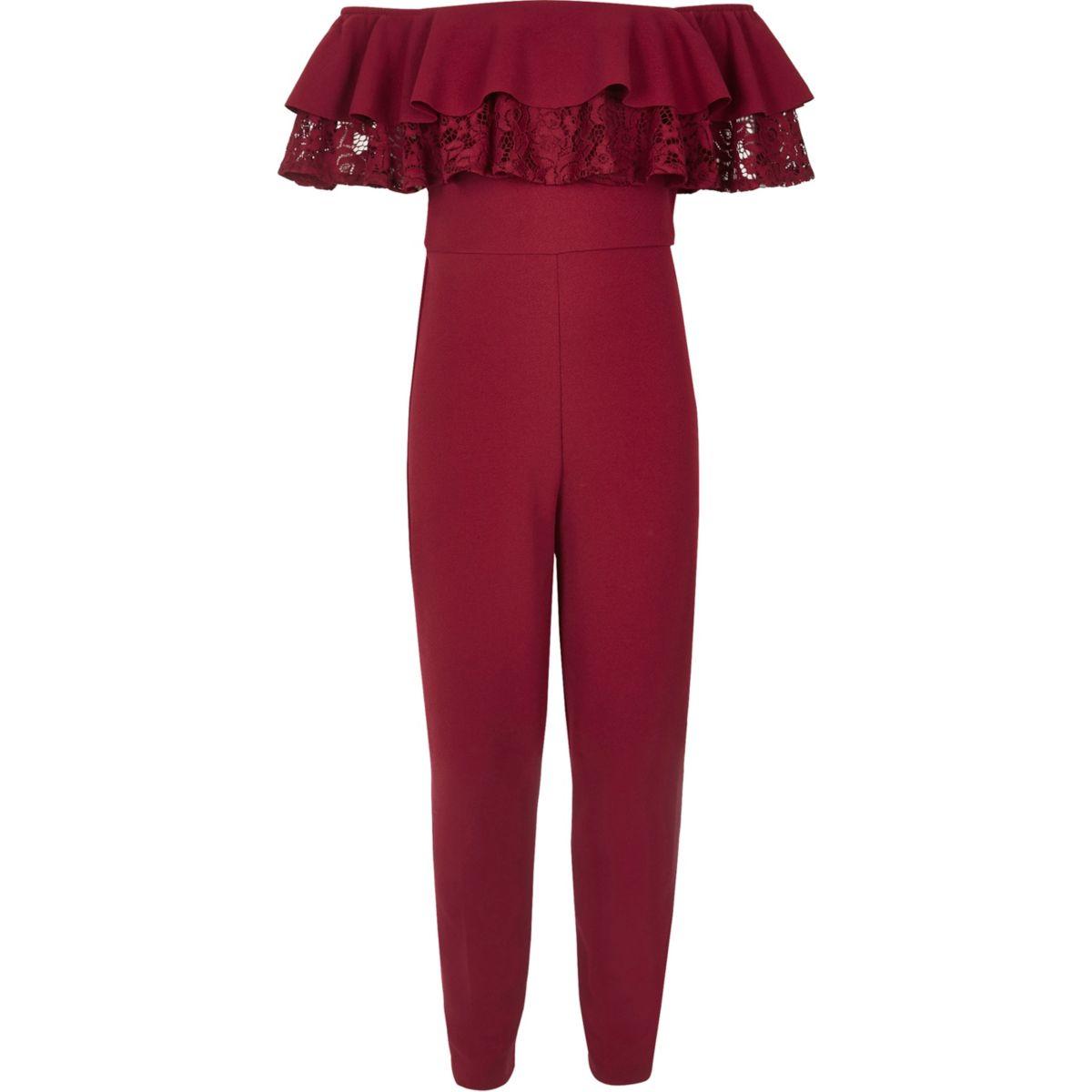 Girls burgundy scuba frill bardot jumpsuit