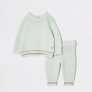 Baby green bobble knit set