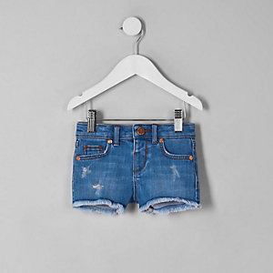 Mini girls bright blue Becca fray hem shorts