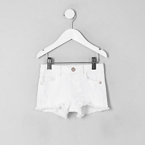 Witte ripped denim short voor mini girls