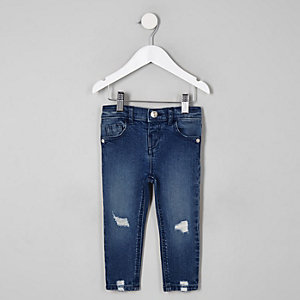 Mini girls dark blue Amelie wash rip jeans