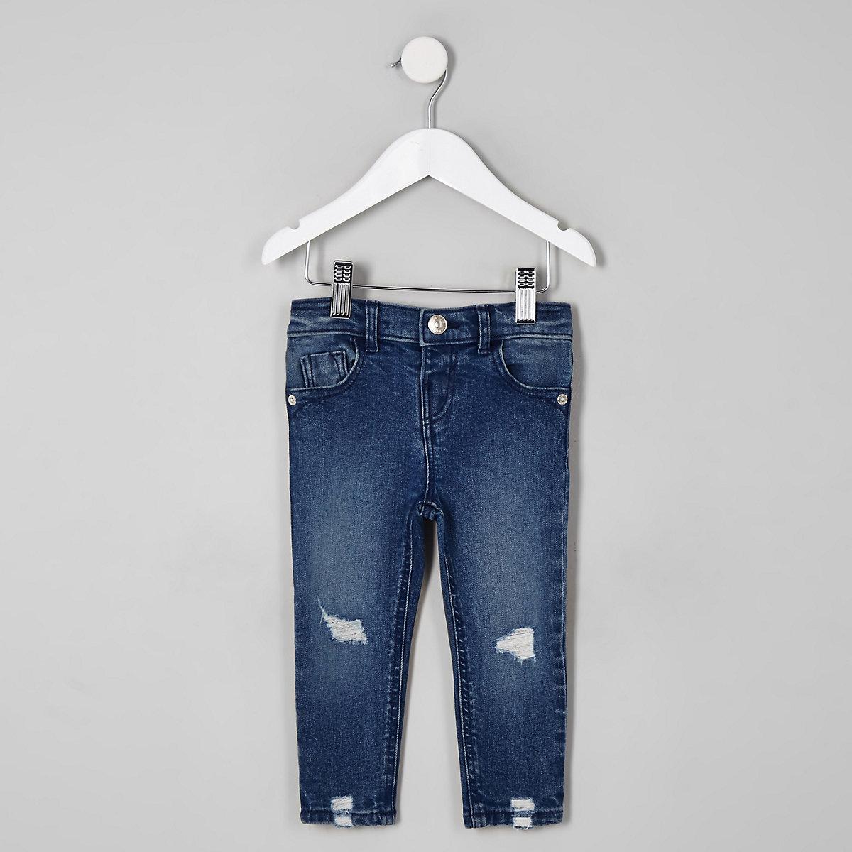 Mini girls dark blue Amelie wash rip jeans