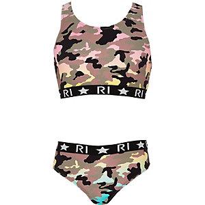 Tankini in Khaki mit Camouflage-Muster