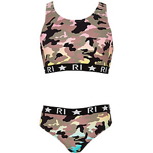 Kaki RI-tankini met camouflageprint voor meisjes