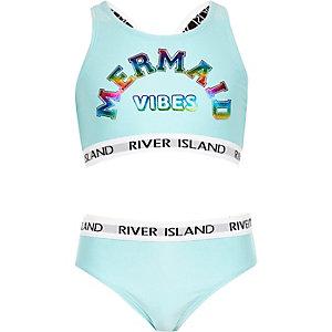 Blauwe cropped tankinimet 'Mermaid vibes'-print en RI-logo voor meisjes