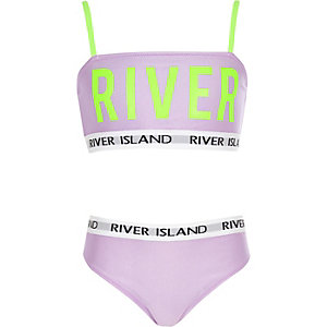 Bikini violet à inscription « River » fluo pour fille