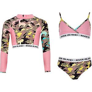 Kaki triangel-bikiniset met camouflageprint voor meisjes