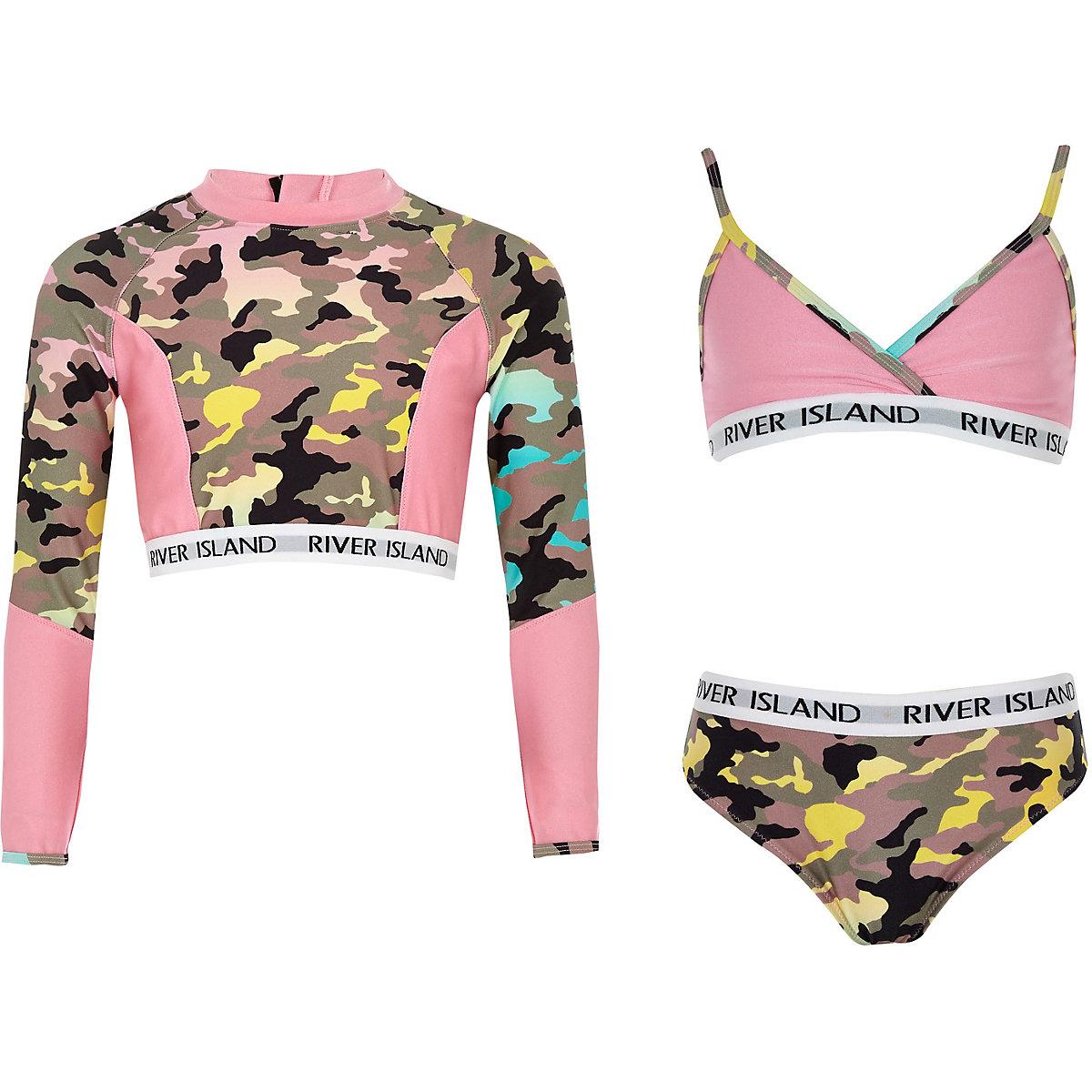 Girls khaki camo triangle bikini set