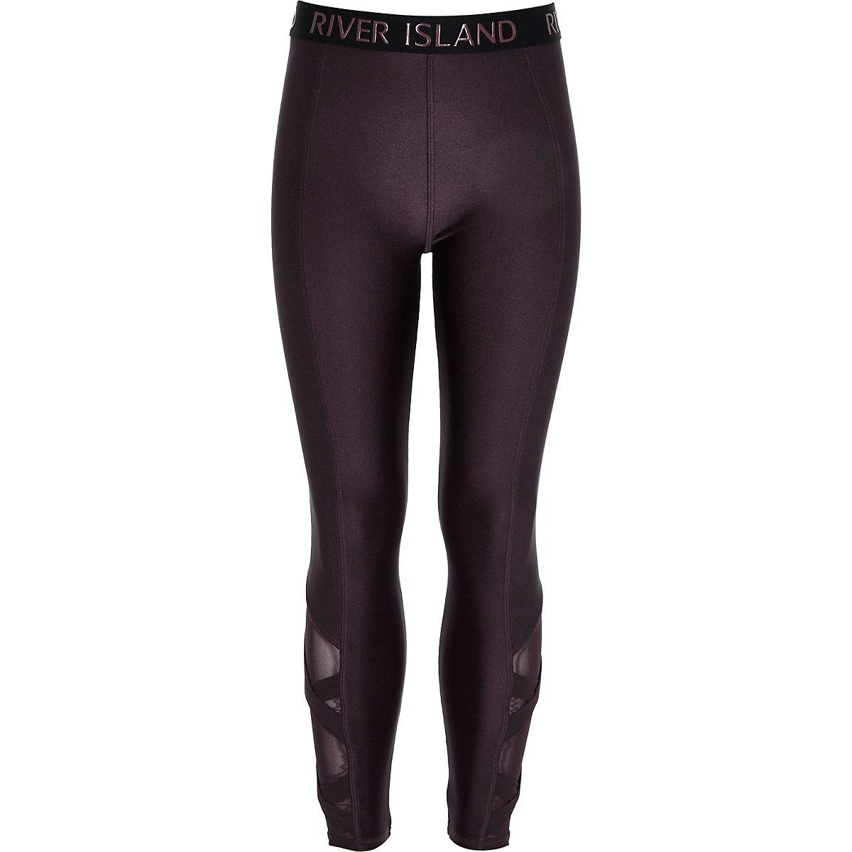 Girls RI Active purple cross leggings