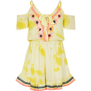 Girls yellow embroidered beach playsuit