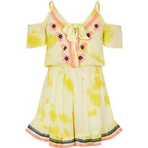 Combi-short de plage jaune brodé pour fille