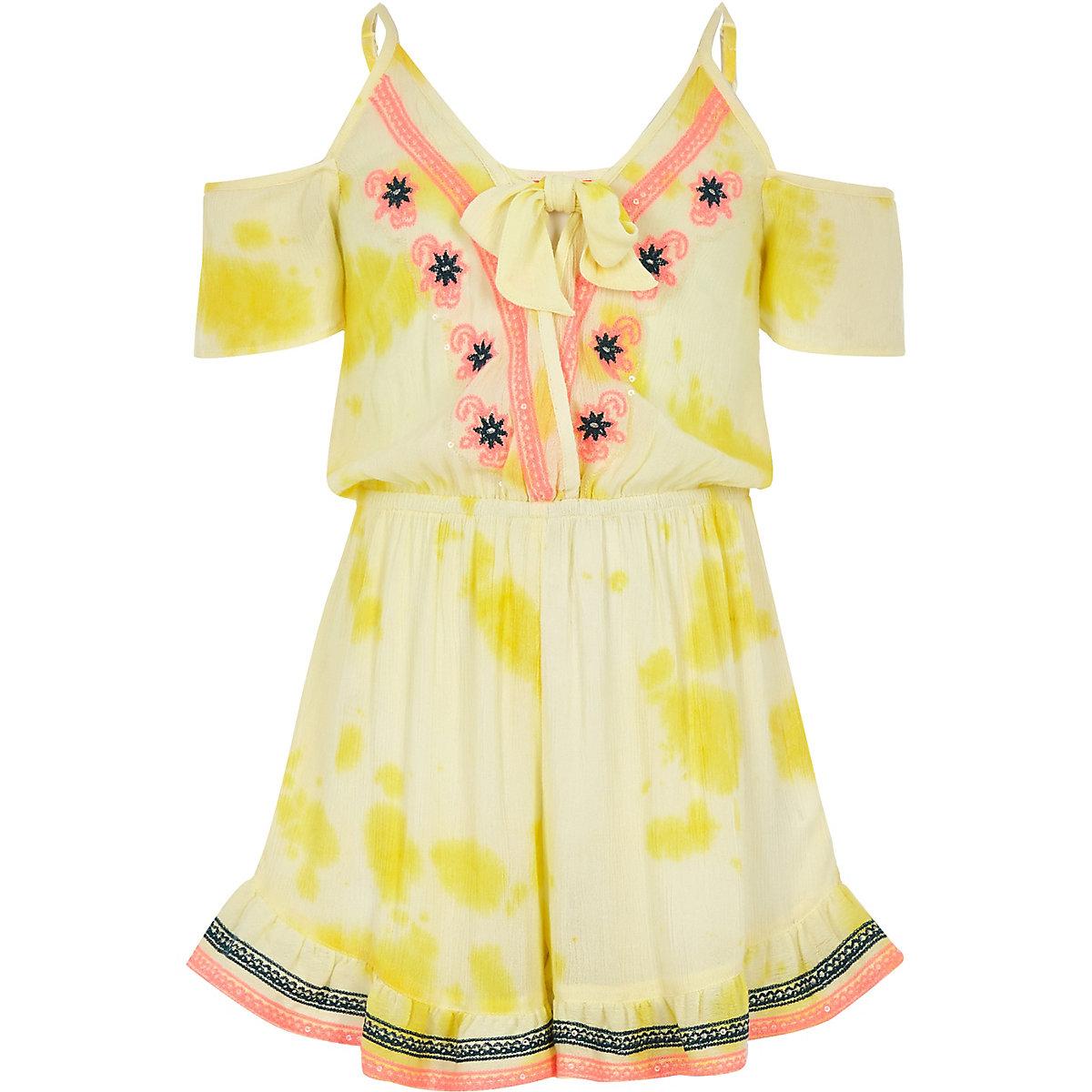 Girls yellow embroidered beach romper
