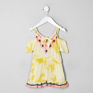 Mini girls yellow embroidered beach playsuit