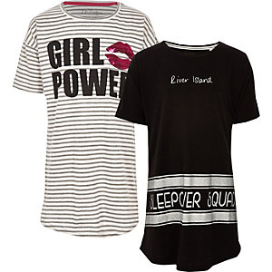 "Graues, gestreiftes Pyjama-Set ""girl power"""