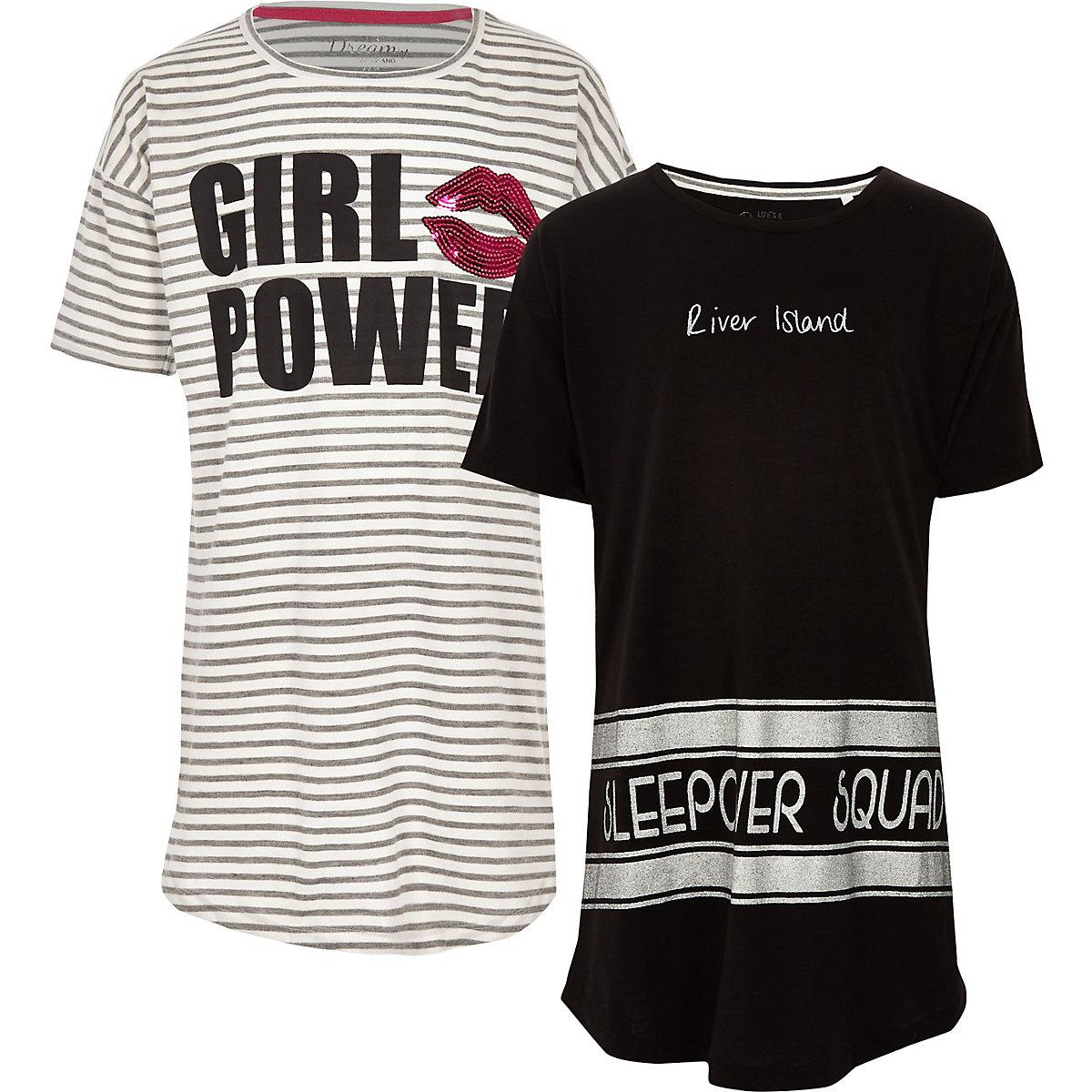 Girls grey stripe 'girl power' pyjama set