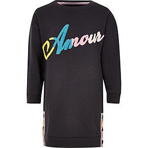 Girls dark grey 'Amour' jumper dress
