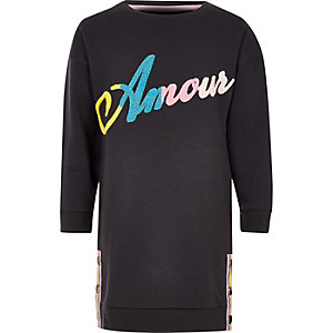 Girls dark grey 'Amour' sweater dress