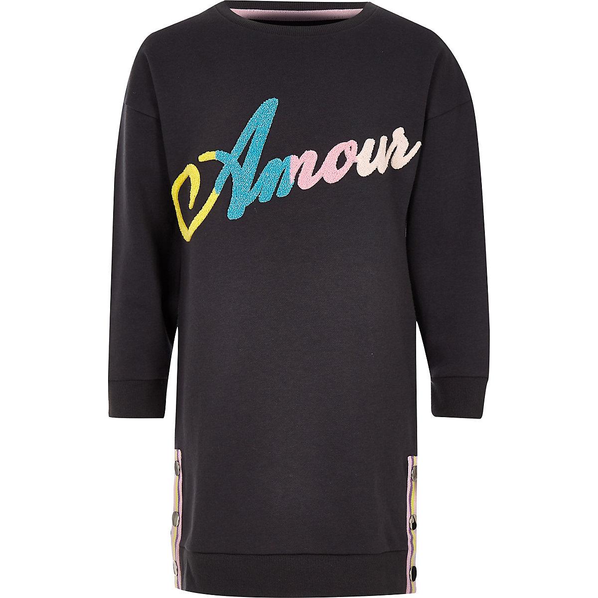 Girls dark grey 'Amour' sweater dress