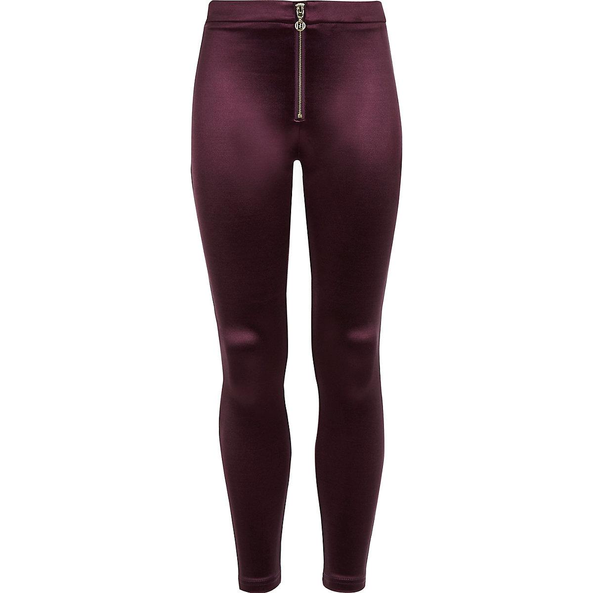 Girls burgundy disco leggings