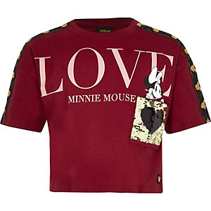 Girls dark red Minnie Mouse crop T-shirt