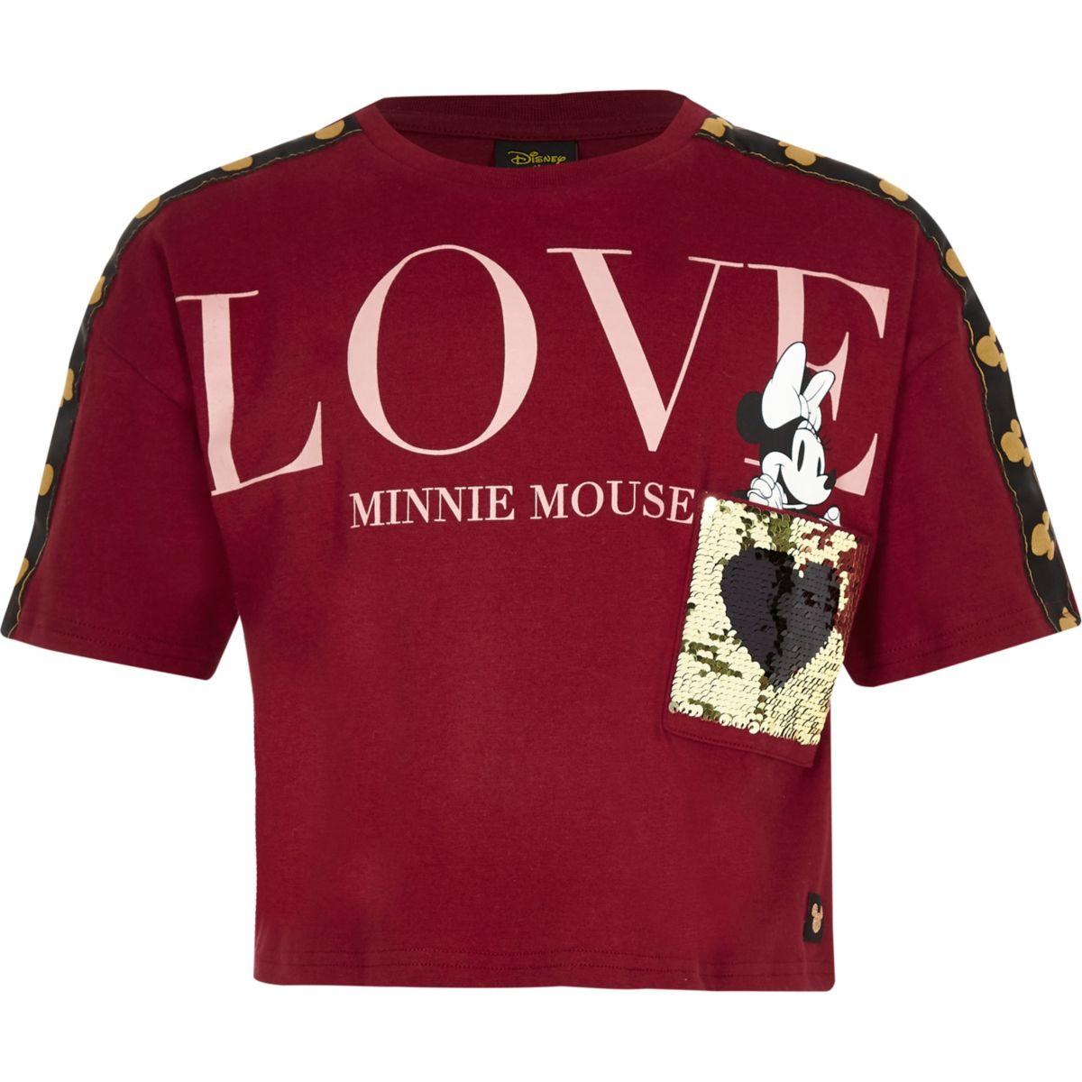 Girls dark red Minnie Mouse crop T-shirt